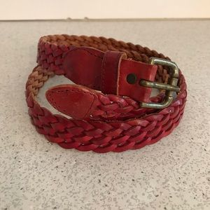 Red woven leather belt
